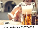 blond fresh beer on an outdoor... | Shutterstock . vector #636704857