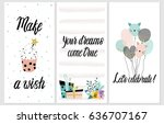 happy birthday party cards set...   Shutterstock .eps vector #636707167