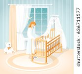 mother and baby in the cot. a... | Shutterstock .eps vector #636711577