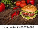 fresh burger and vegetables... | Shutterstock . vector #636716287