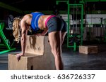 woman resting from exercise | Shutterstock . vector #636726337