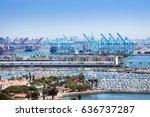 long beach marina and shipping... | Shutterstock . vector #636737287