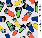 seamless vector pattern with... | Shutterstock .eps vector #636743083