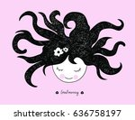 meditating girl medusa head... | Shutterstock .eps vector #636758197