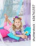 lovely girl with a unicorn hoop ... | Shutterstock . vector #636761557