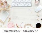 top view office desk. workspace ... | Shutterstock . vector #636782977