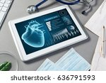 white tablet pc and doctor... | Shutterstock . vector #636791593