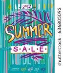 summer sale. vibrant vector... | Shutterstock .eps vector #636805093