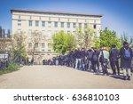 the berghain  berlin. queue of...   Shutterstock . vector #636810103