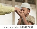 asian muslim child kissing a... | Shutterstock . vector #636822457