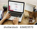 technology concept on a device... | Shutterstock . vector #636823573