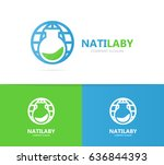 vector of flask and planet logo ... | Shutterstock .eps vector #636844393
