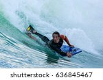 bodyboarder in action on the... | Shutterstock . vector #636845467