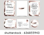 Stock vector wedding invitation card with rose gold color tone bridal shower invitation card rsvp card thank 636855943