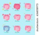 cute cartoon intestine with...   Shutterstock .eps vector #636858973
