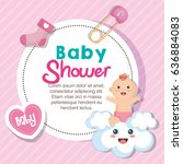 baby shower card | Shutterstock .eps vector #636884083