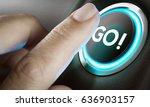 man finger about to press an... | Shutterstock . vector #636903157