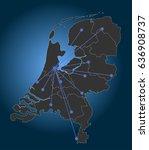 netherlands map  main cities ...   Shutterstock .eps vector #636908737