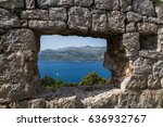 looking through a lookout point ... | Shutterstock . vector #636932767