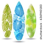 vector surf boards   tropical... | Shutterstock .eps vector #636940183