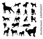 dog pet isolated silhouette set | Shutterstock .eps vector #636942037