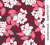 seamless cute pattern with... | Shutterstock .eps vector #636955747