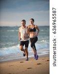 a couple wearing sportswear is...   Shutterstock . vector #636965587