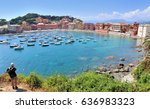 italian bay with colorful... | Shutterstock . vector #636983323