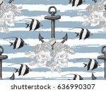 seamless pattern with skull ... | Shutterstock .eps vector #636990307