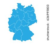 map of germany devided to 13... | Shutterstock .eps vector #636995803