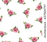 seamless floral pattern with... | Shutterstock . vector #637004797