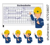 an engineer is scheduling on... | Shutterstock .eps vector #637018837