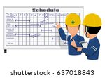 two engineers are discussing... | Shutterstock .eps vector #637018843