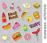 fast food badges  patches ... | Shutterstock .eps vector #637019143