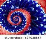 Navy Red Flower Spiral Abstrac...