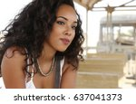 beautiful young girl with curly ... | Shutterstock . vector #637041373