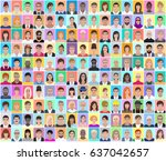 portraits of different people ... | Shutterstock .eps vector #637042657