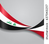 iraqi flag wavy abstract... | Shutterstock .eps vector #637043257