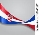 croatian flag wavy abstract... | Shutterstock .eps vector #637043317