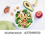 healthy breakfast with fresh... | Shutterstock . vector #637048933