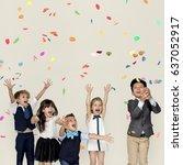children smiling happiness... | Shutterstock . vector #637052917
