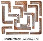 Set Corner Rusty Metal Isolate...