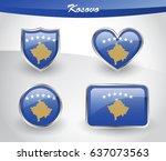 glossy kosovo flag icon set... | Shutterstock .eps vector #637073563