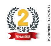 two years anniversary design.... | Shutterstock .eps vector #637075753