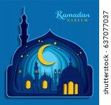 paper art carving of ramadan... | Shutterstock .eps vector #637077037