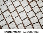 granite cobblestoned pavement...   Shutterstock . vector #637080403