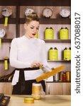 seller is tasting tea for the... | Shutterstock . vector #637088017