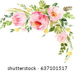 bohemian watercolor floral... | Shutterstock . vector #637101517