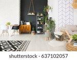 modern black and white loft... | Shutterstock . vector #637102057