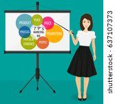 projector screen with financial ... | Shutterstock . vector #637107373